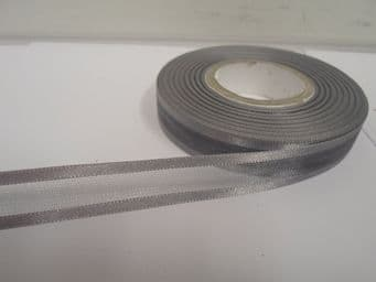 Dark Silver Grey satin edged organza ribbon 2 or 25 metres Double sided 10mm 15mm 25mm 40mm 70mm